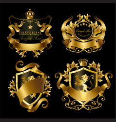 golden royal stickers with crowns shields vector image vector image