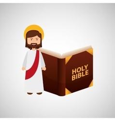 jesus christ happy with bible design vector image