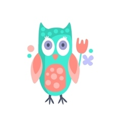 Owl With Party Attributes Girly Stylized Funky vector image vector image