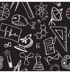 Science drawings on seamless pattern vector image
