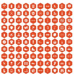 100 sport life icons hexagon orange vector image