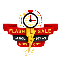 24 hour flash sale label for banner poster vector image