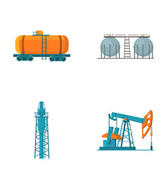 A railway tank an oil storage a drilling tower vector