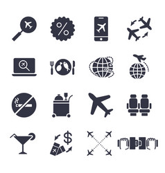 airport and airplane elements icons set delivery vector image