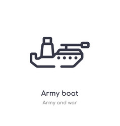 army boat outline icon isolated line from vector image