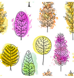 autumn seamless pattern with watercolor trees vector image