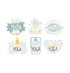 Ayurvedic yoga harmony labels set enjoy yoga vector