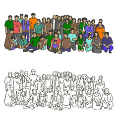 big asian family sketch doodle hand vector image