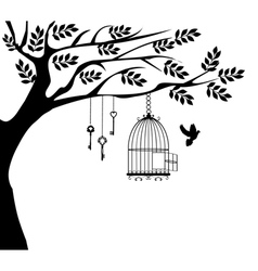 Bird cage dove vector