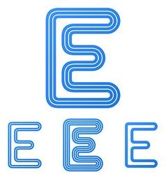 Blue line e logo design set vector