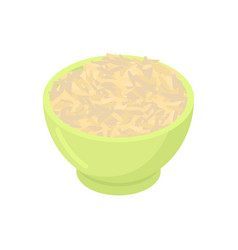 Bowl of brown rice cereal isolated healthy food vector