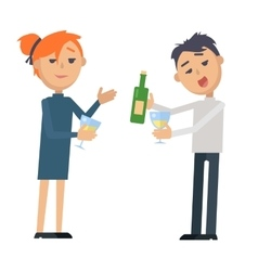 Boy and girl with glass wine and bottle isolated vector