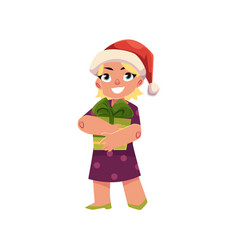 boy in christmas hat holds present box vector image