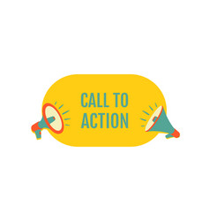 Call to action megaphone with bubble speech vector