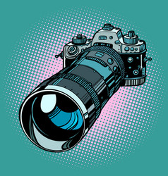 camera with telephoto lens vector image