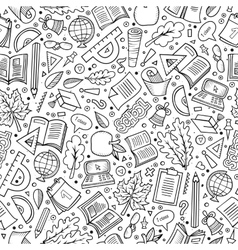 Cartoon back to school seamless pattern vector