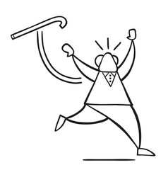 Cartoon old man throwing his walking stick and vector