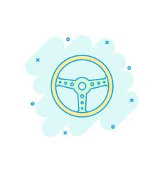 Cartoon steering wheel icon in comic style rudder vector