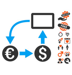 Cashflow euro exchange icon with valentine bonus vector