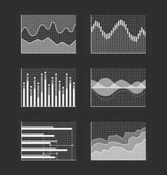 charts with business information colorless set vector image