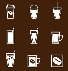 Coffee drinks icons collection vector