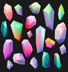 colorful gemstones isolated on black crystal icon vector image