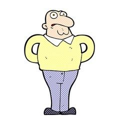 Comic cartoon worried man vector