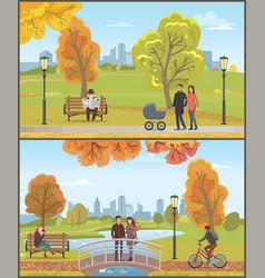 couple with pram autumn city park set vector image