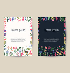 creative floral cards with blooming flowers and vector image