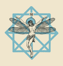 Crucifixion jesus christ with dragonfly wings vector