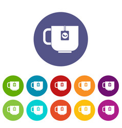 cup of tea set icons vector image