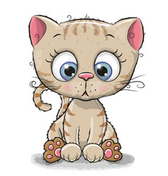 Cute cartoon kitten vector