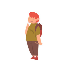 Cute fat boy with backpack overweight child vector