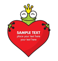 Cute Frog prince with heart vector