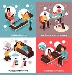 depression concept icons set vector image