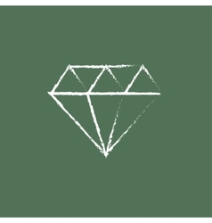 Diamond icon drawn in chalk vector