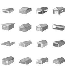 Different hangars icons set monochrome style vector