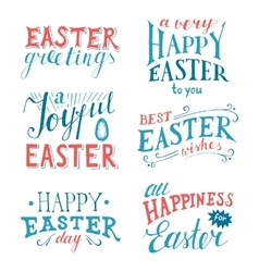Easter hand drawn lettering set vector image