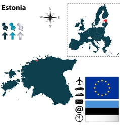 Estonia and European Union map vector image