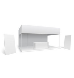Exhibition trade stand white empty event vector