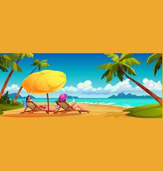 family couple sunbathe on summer beach seashore vector image