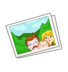Family photo portrait icon in cartoon style vector