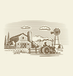 Farm with tractor and barn in vintage style vector
