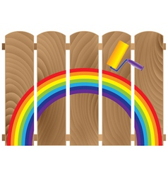 fence boards painted in rainbow vector image