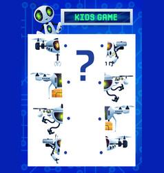 Find a half kids riddle game cartoon robots vector