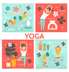 Flat yoga composition vector