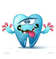 funny cute crazy tooth characters cartoon vector image