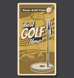 golf sport ball club and course flagstick hole vector image