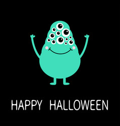 happy halloween green monster with many eyes vector image
