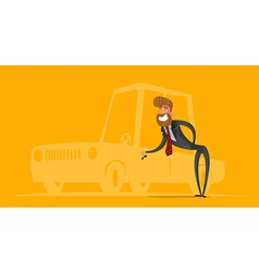 Happy salesman businessman handing car keys vector